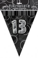 Black Glitz '13th' Birthday Flag Banner